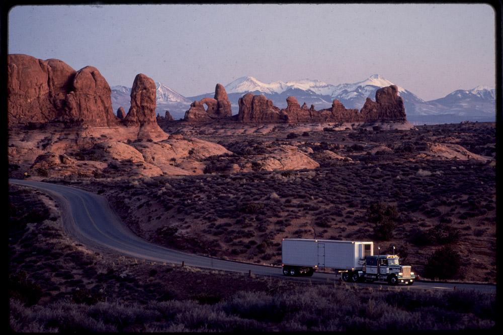 USA roads, Western USA, Truck on road